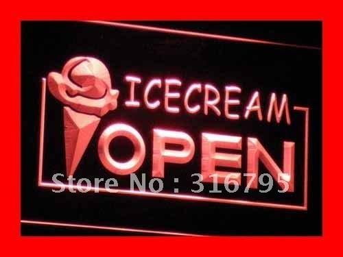 i015 Open Ice-cream Icecream Ice cream Ads Light Sign On/Off Switch 20+ Colors 5 Sizes