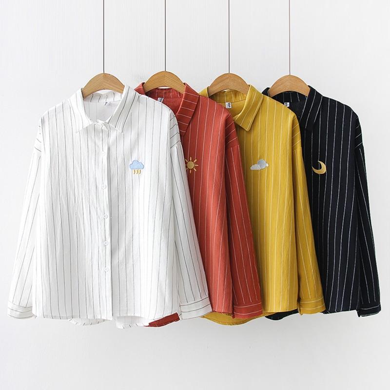 Women Cotton Shirts 2019 Spring New Striped Blouse embroidery Long Sleeve White Blouses Female Shirts Womens Blusas Feminine 3