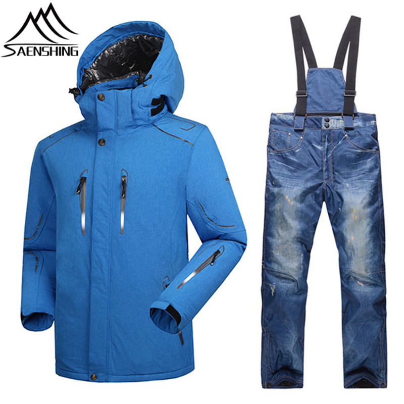 Saenshing Ski suit men waterproof snowboard jacket +ski pants thermal skiing and Snowboarding sets Sport winter snow Suits male gsou snow ski jacket pants women ski suit waterproof snowboard jacket pants snowboard sets high quality skiing snowboarding suit