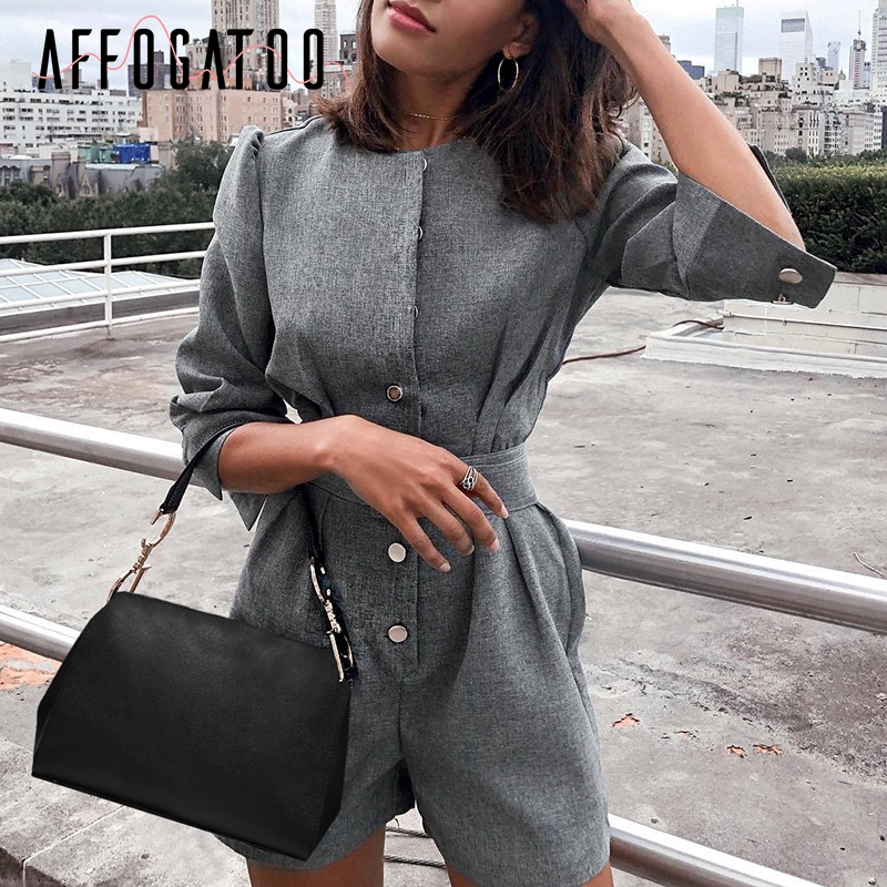 Affogatoo Elegant Office Ladies Button Sash Blazer Gray Jumpsuit Women Vintage Solid Work Short Playsuits Autumn Casual Rompers