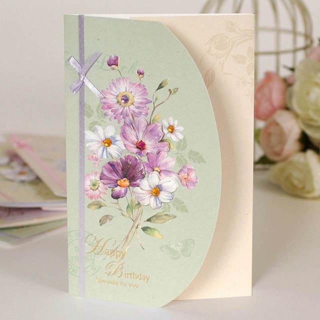 Doreenbeads Carte De Voeux Avec Enveloppe Fleur D Anniversaire De