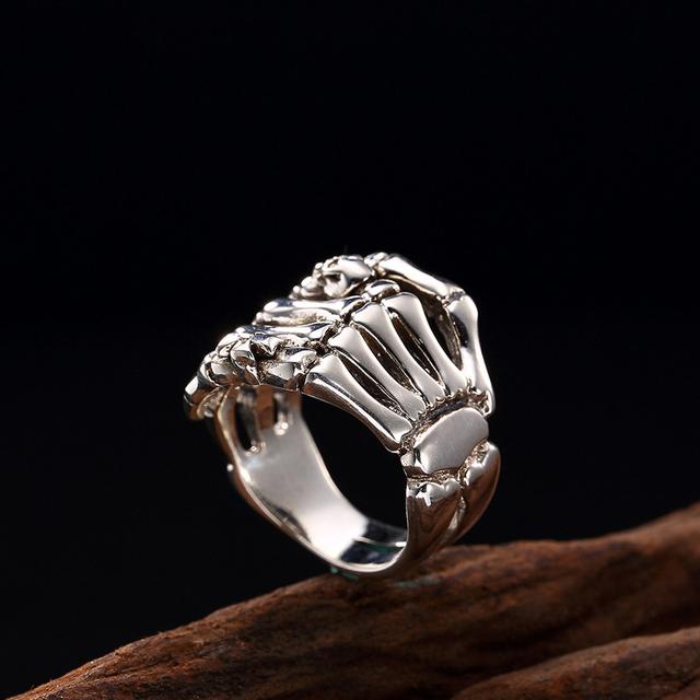 ORIGINAL 925 STERLING SILVER HAND SKULL RINGS