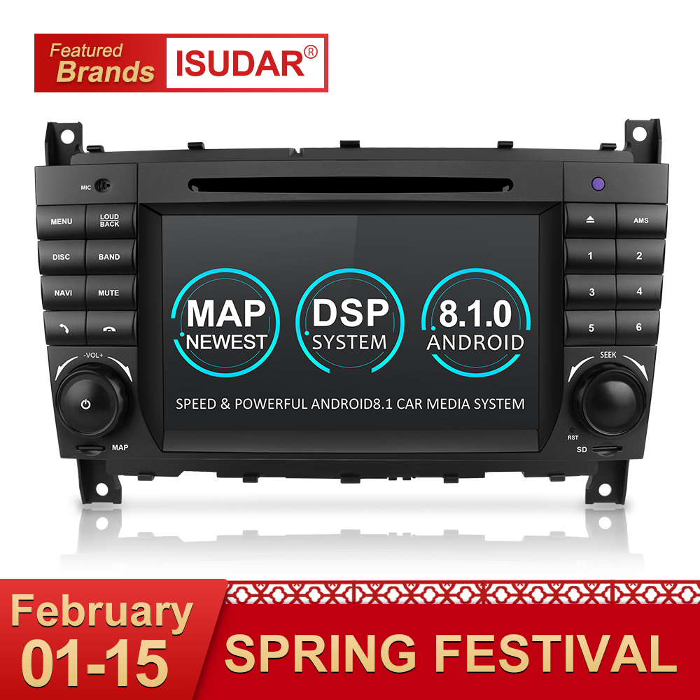 Isudar Due Din Car Multimedia Player Android 8.1 Lettore DVD Per Mercedes/Benz/W203/CLK200/CLK22 /C180/C200 GPS Radio FM 2 GB 16 GB