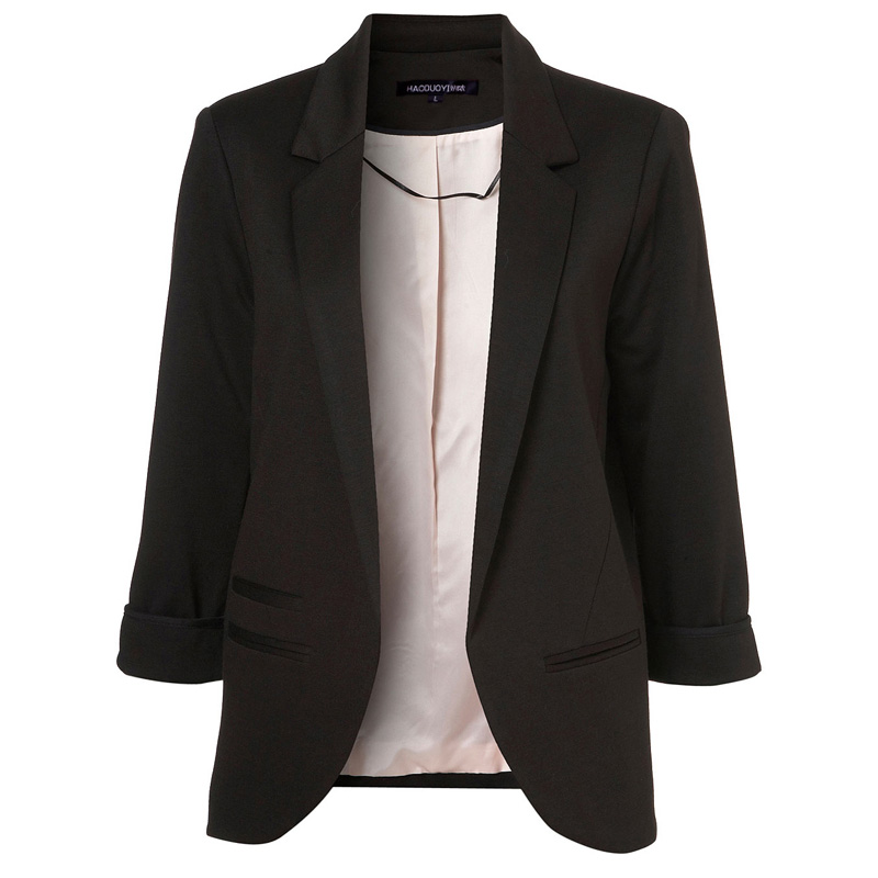 White Blazer peach Hdy Solid Small Suit Turn Haoduoyi red Color Wholesale New Blue Red Arrival Casual Outwear Lapel Black white Collar Female Blue Hot Women navy light down Ol rrYpn8W