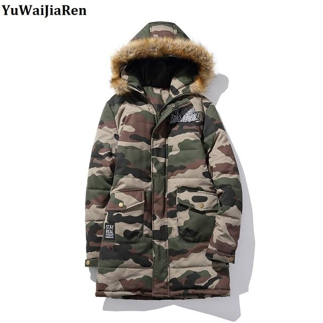 Hommes Coton Camouflage Ouatée Col Manteaux Manteau Yuwaijiaren Long Luxe Taille De Plus Fourrure Rembourré Vestes D'hiver La Parka ZOikuTPX