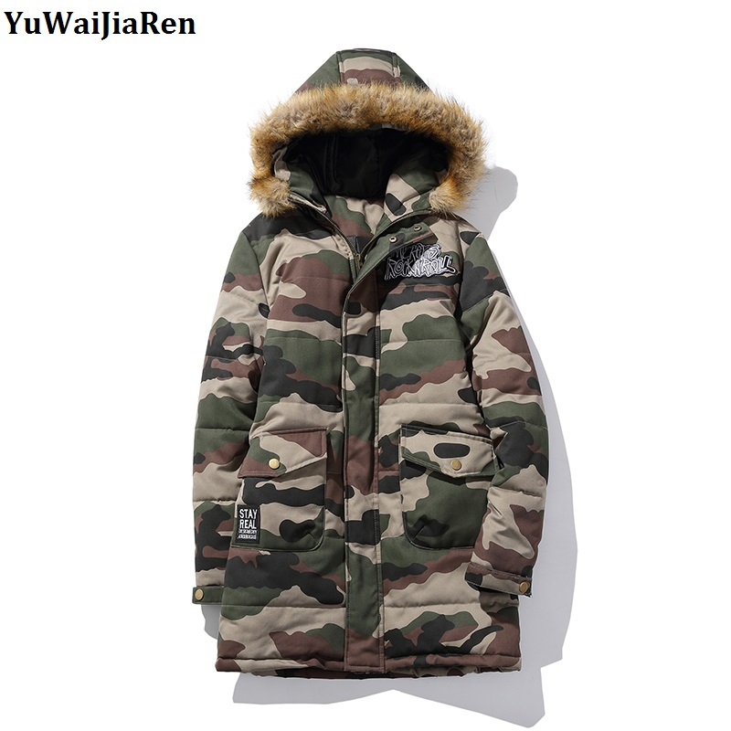 YuWaiJiaRen Plus Size Winter Coat  Long Parka Luxury Fur Collar Cotton-Padded Camouflage Coats Men Wadded Jackets 2017 long winter coats cotton padded women jackets luxury big faux fur collar coat thick hooded parka plus size 3xl abrigo mujer