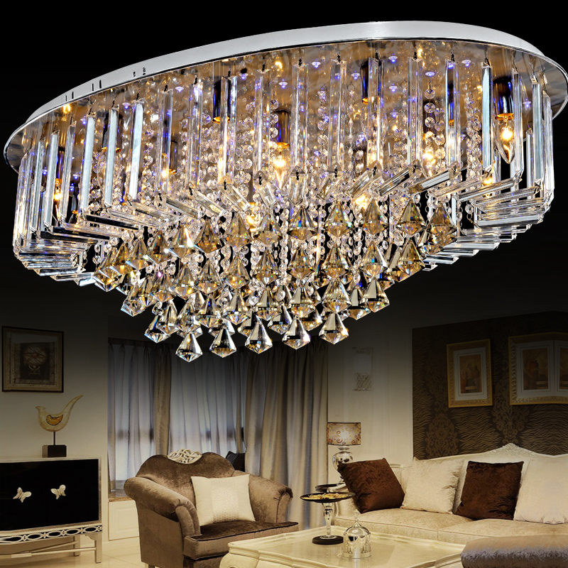 Top Sales Special Price Guaranteed 100% Large Modern Brief Crystal Chandelier Ceiling , Crystal Lighting For Living Room Hall