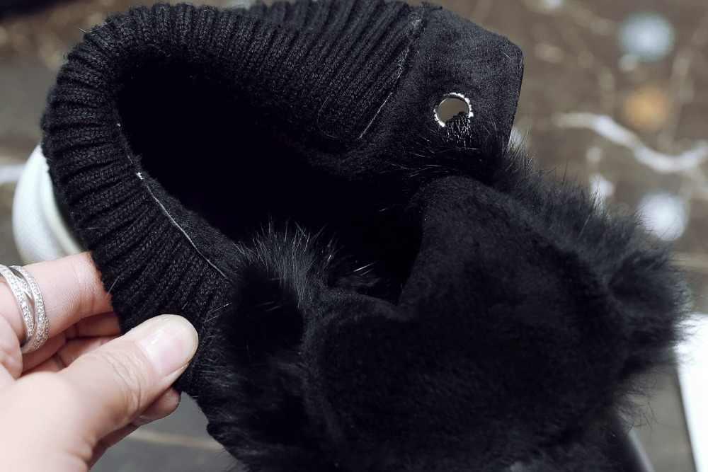 2018 mới đến ngón chân nhọn da bò tuyết khởi động giữ ấm lông mùa đông giày nền tảng ren lên rắn phụ nữ trung -bê khởi động L19