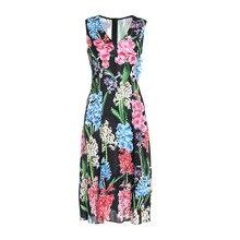 Women's sleeveless pecil dress NEW 2019 summer runways beading floral print V neck dress A176