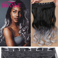 Black To Gray Body Wave Hair Heat Resistant Synthetic Fiber Black to Silver Grey Ombre Color Body Wave Clip In Hair Extensions