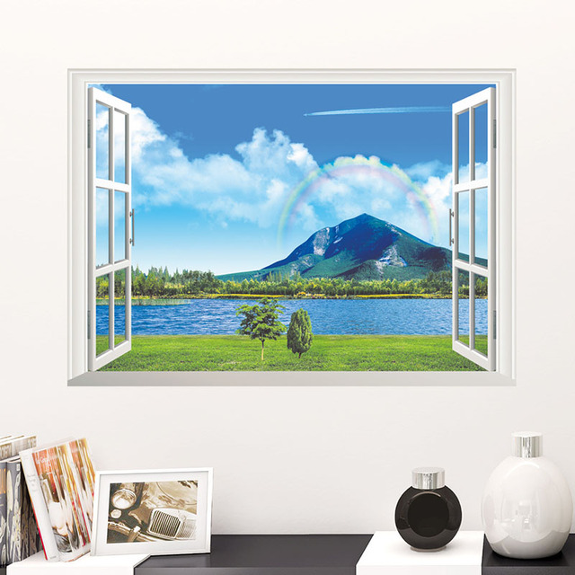 Fake Window Wall Stickers Home Decor Living Room Waterproof Vinyl Paper Lake Mountain Rainbow