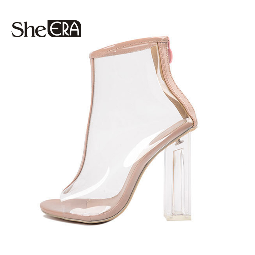 She ERA PVC Summer Women Boots Fashion Transparen Peep Toe Female Boots Cool Ankle Boots For Women 11cm Square Heel