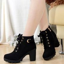 2018 High quality woman boots fashion thick heel motorcycle female black Martin boots shoes zapatos mujer ankle platform punk