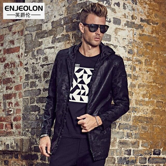 Enjeolon брендовые мотоциклетные искусственной кожи Куртка Мужчины, тонкий топ одежда, толстовка на молнии куртка камуфляж повседневные мужские головные уборы пальто P252