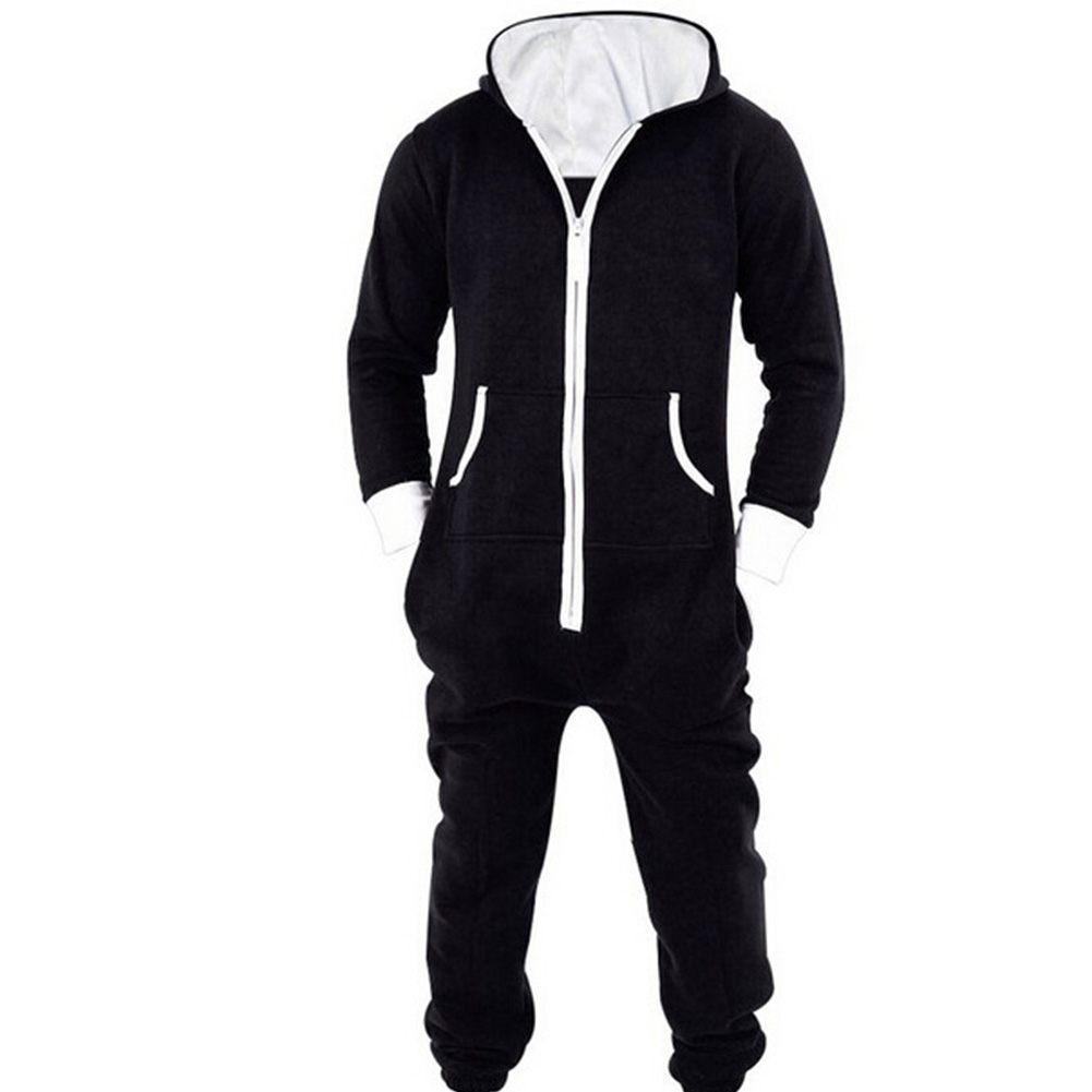 Overalls Jumpsuit Pajamas Rompers Hooded Zipper Adult One-Piece Winter Cotton Women  title=
