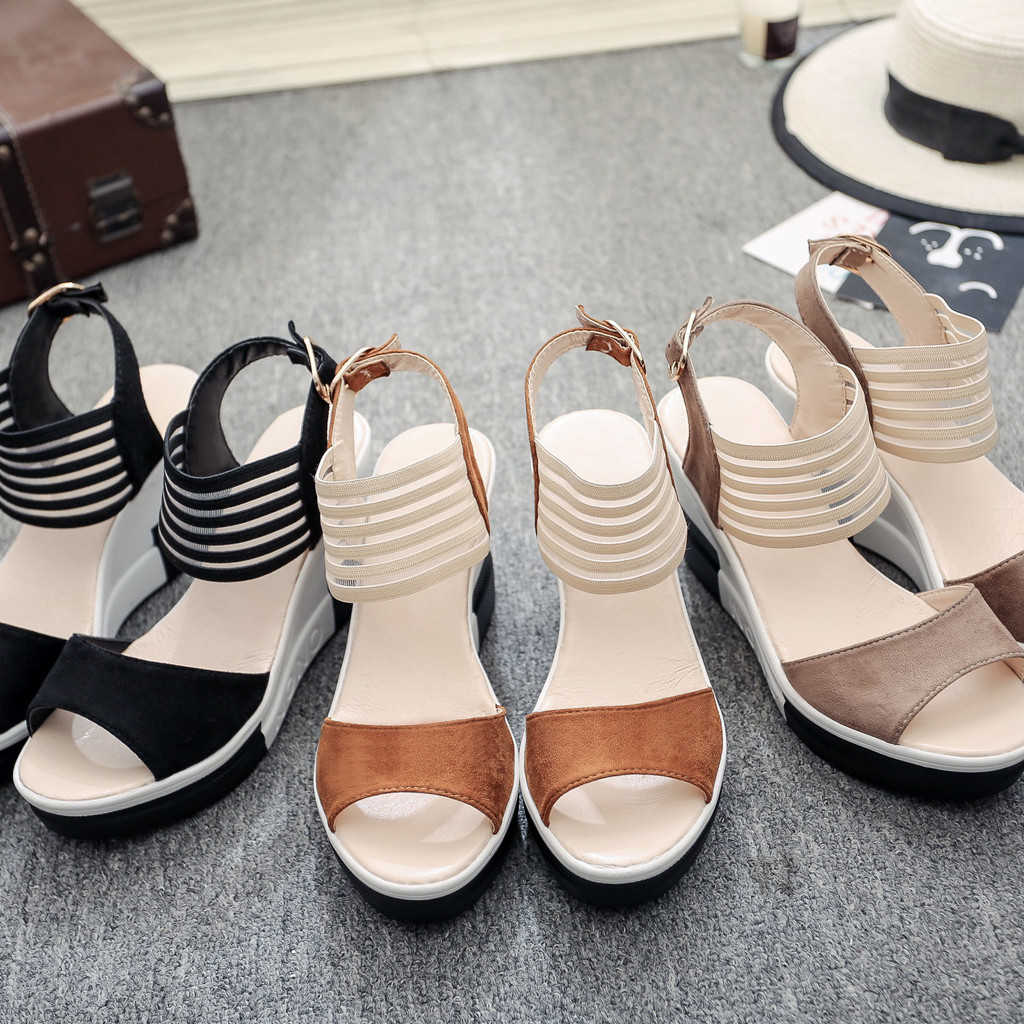 HTB1PtFoaErrK1RkSne1q6ArVVXap new fashion Wedge women Shoes Casual Belt Buckle High Heel Shoes Fish Mouth Sandals 2019 luxury sandal women buty damskie