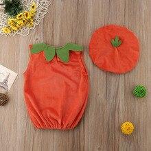 Baby Kid Pumpkin Print Sleeveless Romper Jumpsuits 2PCS
