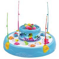 플라스틱 더블 레이어 전기 낚시 장난감 회전 자기 음악 빛 낚시 게임 어린이 어린이 야외 스포츠 장난