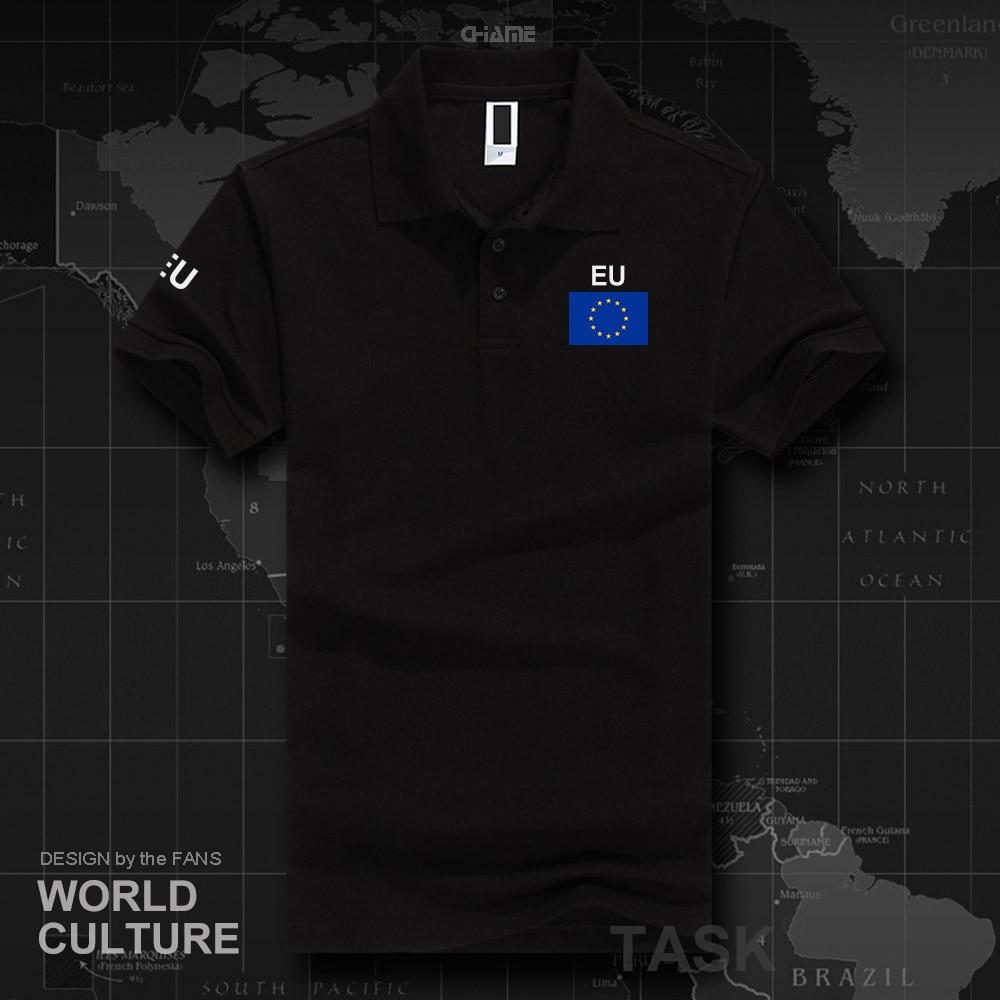 European Union EU   polo   shirts men short sleeve white brands printed for country 2018 cotton nation team flag new fashion