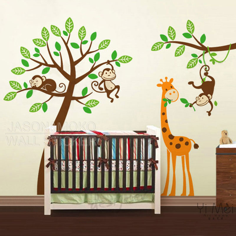 Cartoon Tree Decals Monkeys Giraffe Zoo Wall Stickers Decal Wallpaper Nursery Children Baby Room Decor 200 250cm Home Decoration In From