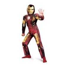 Na Venda de Luxo Criança Meninos Traje Do Homem De Ferro Mark VII Músculo Marvel Os Vingadores Super Herói Terno Up 3T-12y Tamanho Grande Para O Dia Das Bruxas