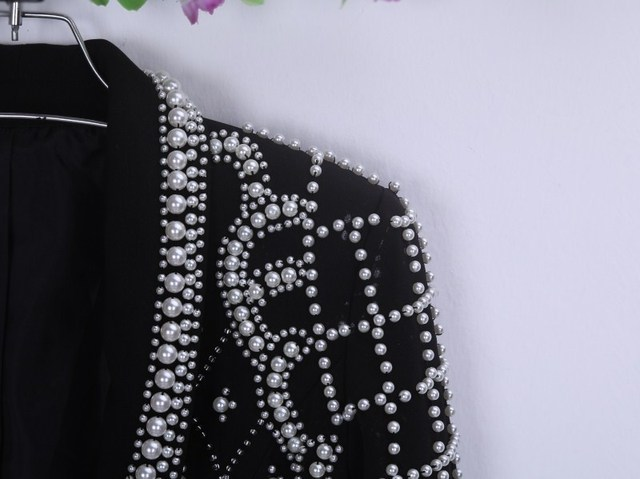 2016 Autumn And Winter Fashion Suit Jacket Handmade Crystals Beads Pearl Slim Fit Female Rhinestone Blazer Outerwear Clothes