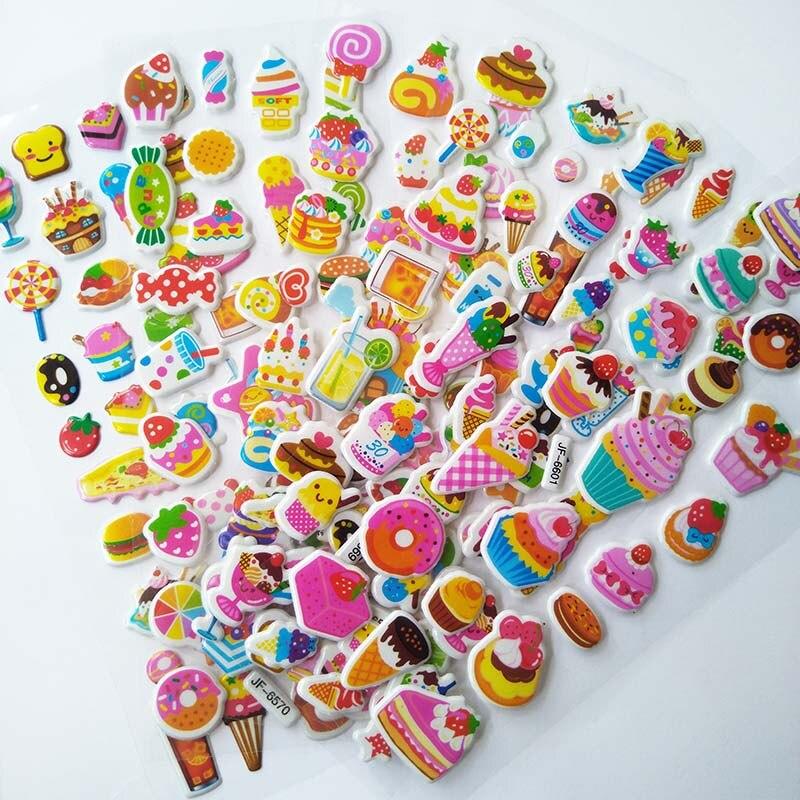 6 Sheets Stickers 3D Cute Cartoon Candy Cake Kids Sticker For Children Toys DIY Foam Funny Sticker Gommettes Pour Enfants Stiker