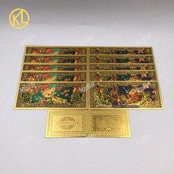 10 шт./лот золотые фольгированные банкноты с Санта-Клаусом, красочные покрытые 2 доллара поддельные деньги с сертификатами, реквизит для дене...