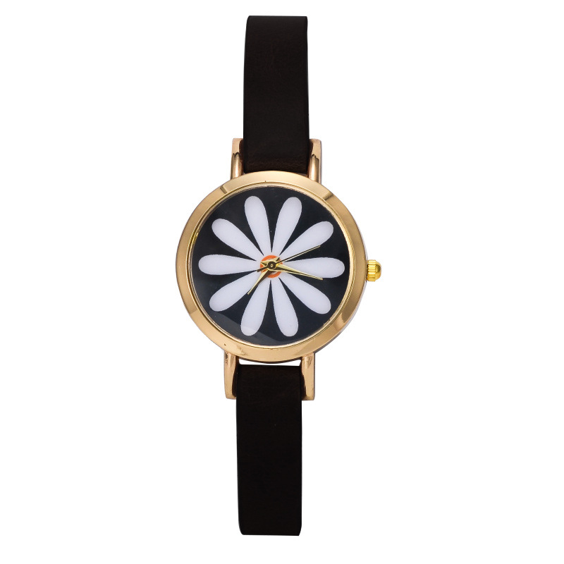 reloj de cuarzo mujeres de lujo de la marca correa de cuero delgado flores preciosas relojes
