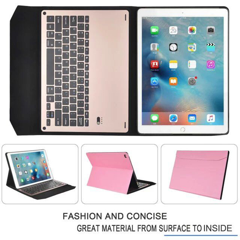 где купить  Ultra Slim Russian/Hebrew/Spanish Aluminum Metal Wireless Bluetooth Keyboard &Leather Cover Case For Apple iPad Pro 12.9