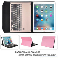 Ultra Slim Russian Hebrew Spanish Aluminum Metal Wireless Bluetooth Keyboard Leather Cover Case For Apple IPad
