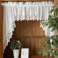 Roman Curtain Fashion Crochet White Retro Big Hem Christmas Curtain Triangular Curtain For Kitchen Cabinet Door