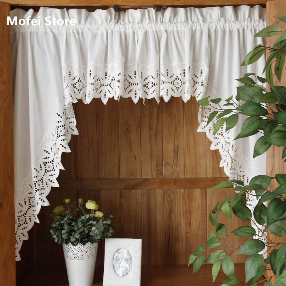 Kitchen Curtains With White Cabinets: Roman Curtain Fashion Crochet White Retro Big Hem