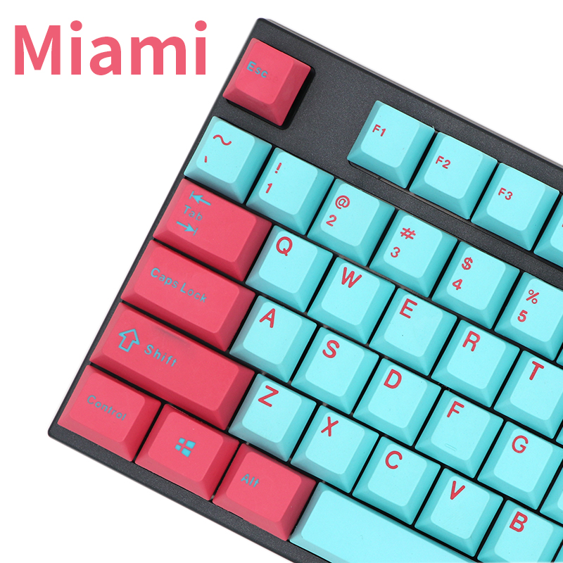 PBT Keycaps Miami Printed Mx-Switches-Of-Mechanical-Keyboard 87key-61key Cherry Doubleshot