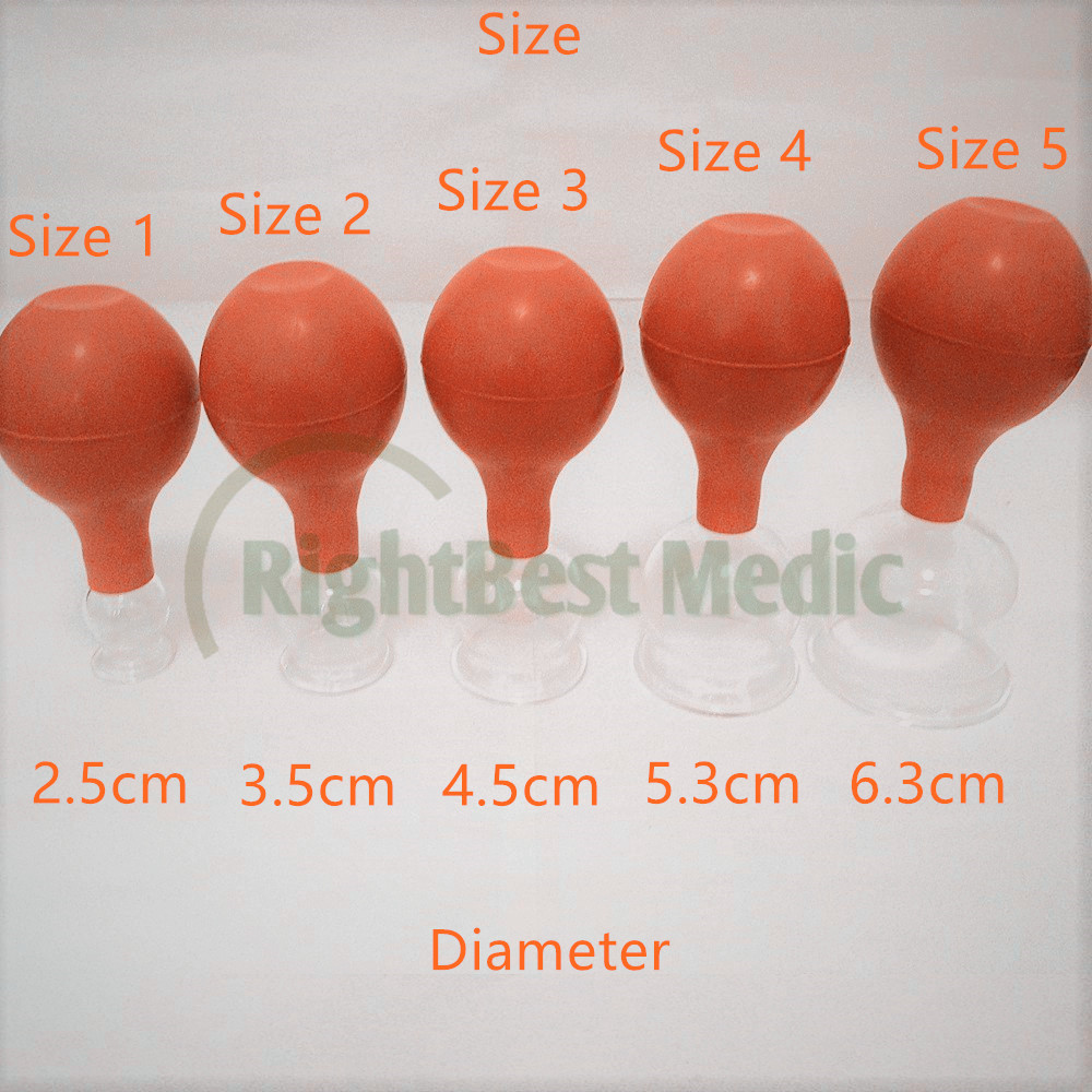 2 Cups High Quality Medical Glass And Rubber Vacuum Suction Cupping Cups Body Massage Cupping Health Care Beauty Tools 5 Sizes