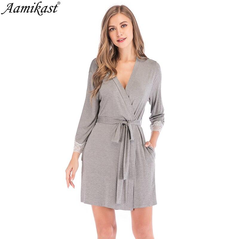 Aamikast Modal Lace Womens Robe 3/4 Sleeve Solid Loose V Neck Self Belt Bathrobe Night Sexy Robes Night Grow Kimono Robe Pajama
