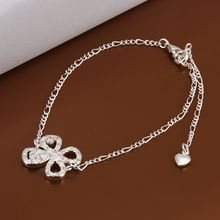 Free shipping wholesale price fashion Insets Clover 925 jewelry silver plated women foot anklet top quality SMTA010