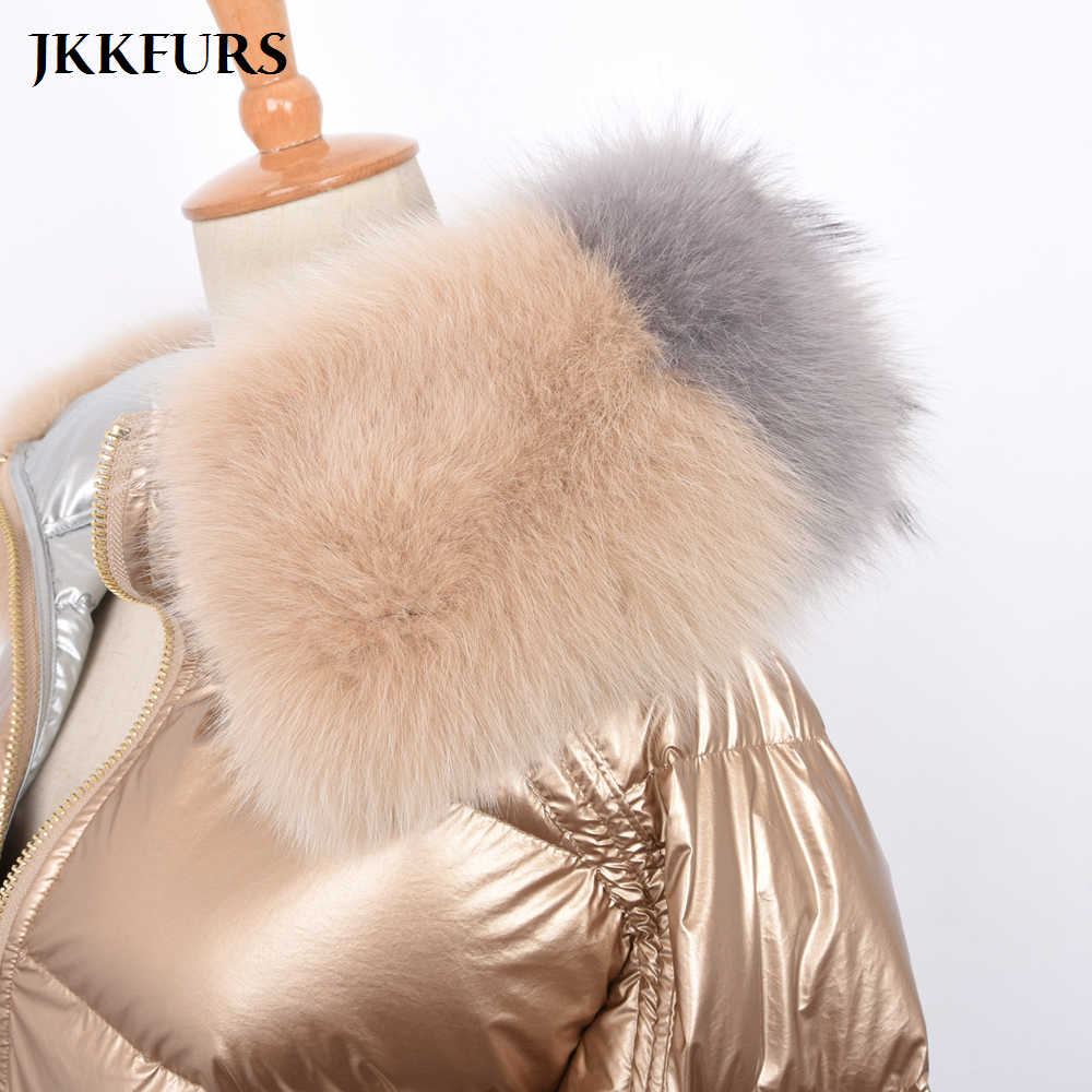 a69ba3477 2019 Fashion Women's Coats Real Fox Fur Collar Winter Thick Warm Fur Double  Face Reversible White Down Duck Top Quality S7482