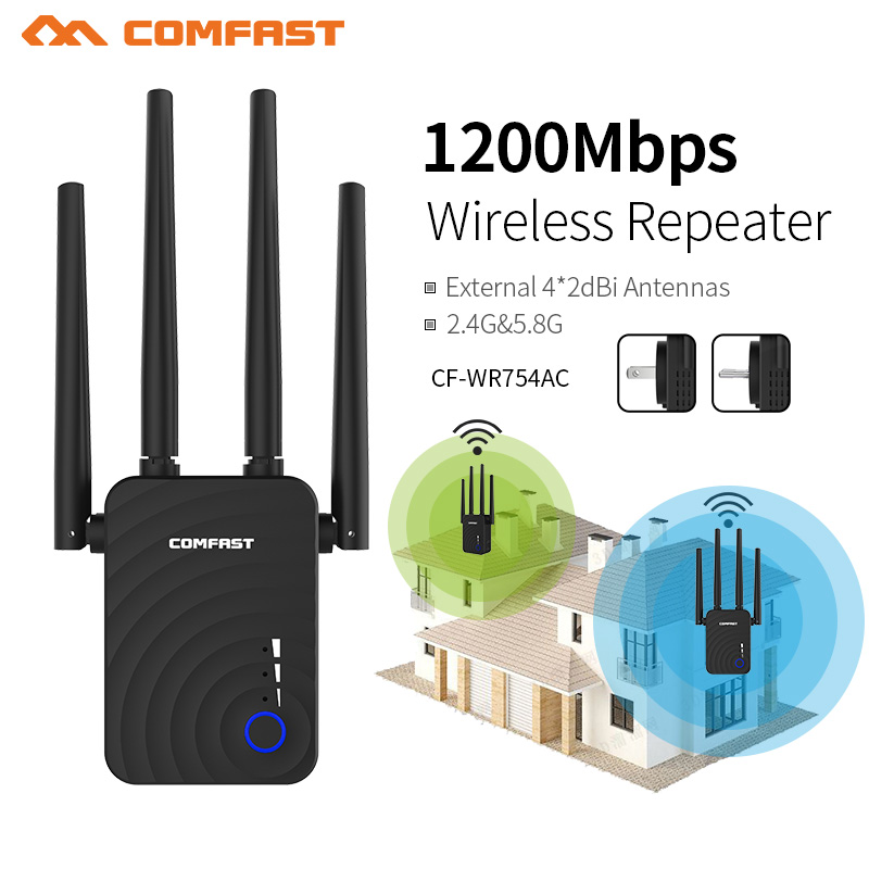 Comfast Mini 1200Mbps High Speed Wireless Repeater Wifi Booster 1200Mbps 2.4&5Ghz Wifi Long Range Signal Amplifier CF-WR754AC