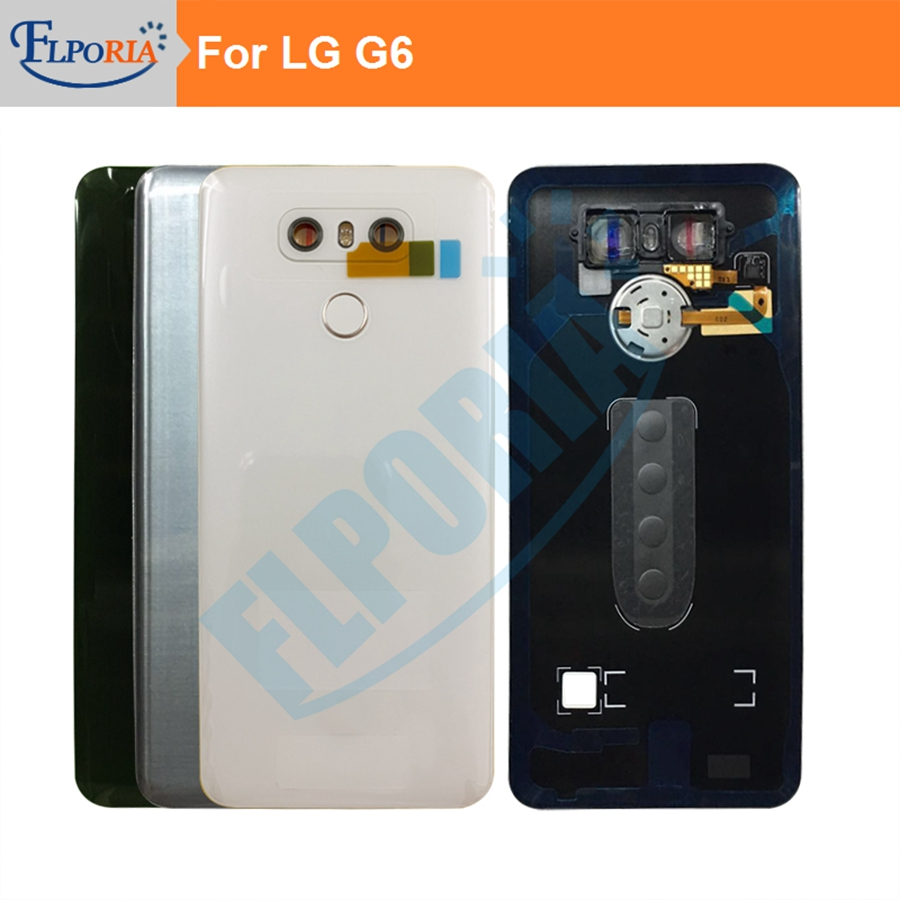 For LG G6 H870 Back Cover Battery Door Back Housing Rear Case Assembly With Camera Lens Glass Touch ID Replacement Parts