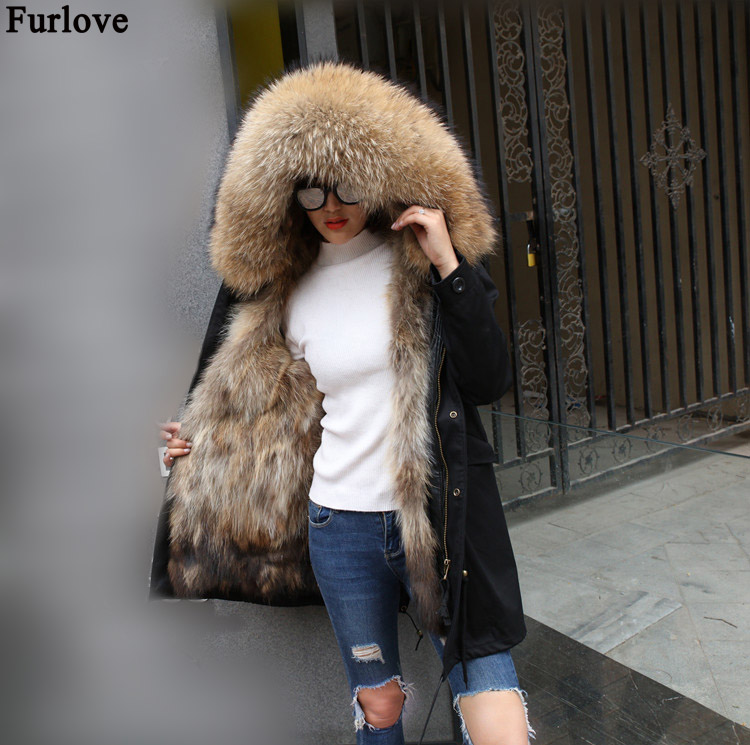 2018 Winter Jacket Girls Actual Fur Coat Lengthy Parka Waterproof Massive Pure Raccoon Fur Collar Hood Thick Heat Actual Fox Fur Liner