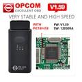 Alta calidad A + + + Software Opcom 2014.02 con Chip de OP-Com PIC18F458 puede OBD2 Opel Firmware V1.59 Opel Op com CAN BUS interfaz