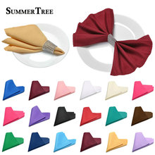 Linen Napkin Polyester Diner 12 x 12inch Square Fabric Handkerchief Hanky Wedding Party Supply Home Hotel Banquet Decoration