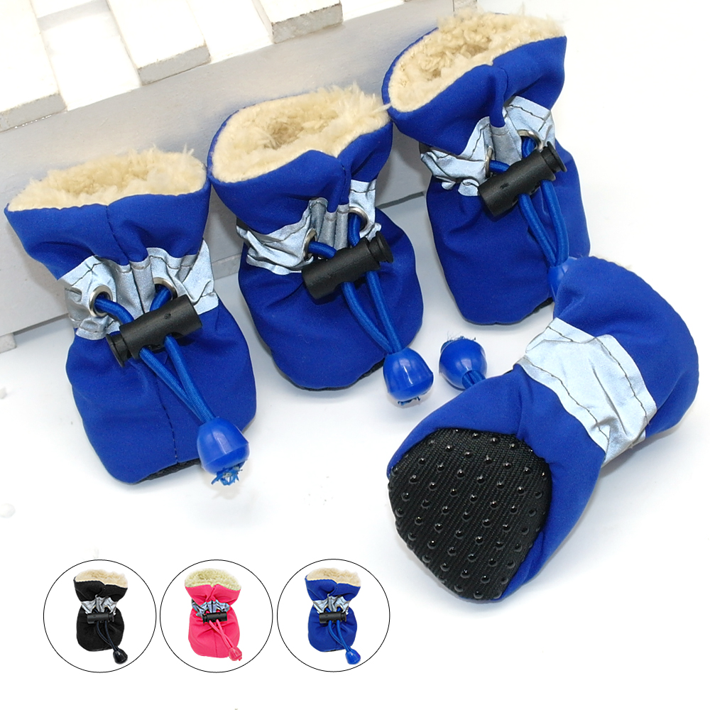 4pcs Waterproof Winter Pet Dog Shoes Anti-slip Rain Snow Boots Footwear Thick Warm For  Small Cats Dogs Puppy Dog Socks Booties mattress