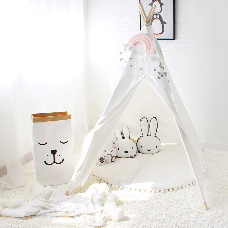Four Poles Children Teepees Kids Play Tent Cotton Canvas Teepee White Playhouse for Baby Room Tipi children tipi canvas cotton indian tent kids play house teepee baby game room playhouse boys and girls teepees toy tent page 6