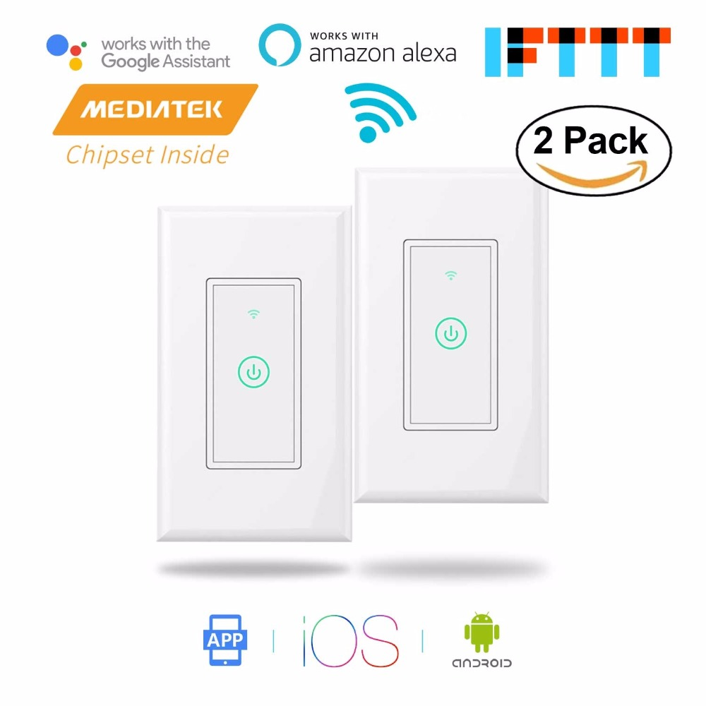 Smart WiFi Wall Switch, Amazon Alexa & Google Assistant & IFTTT Supported, App Remote Control-2 Pack Meross MSS510