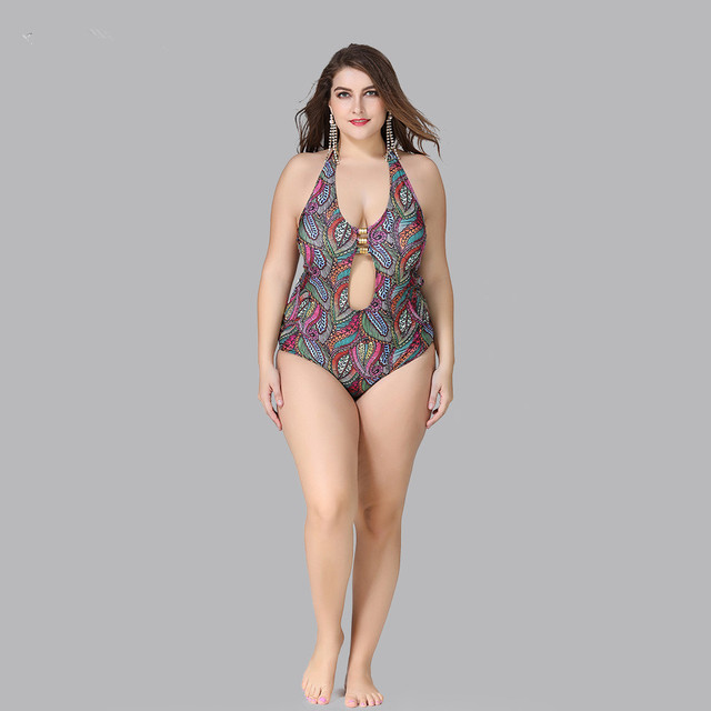Large Size XL-5XL One Piece Swimsuit Swimwear Women 2019 Sexy Swimming Bathing Suit Female Big Size Beachwear 3