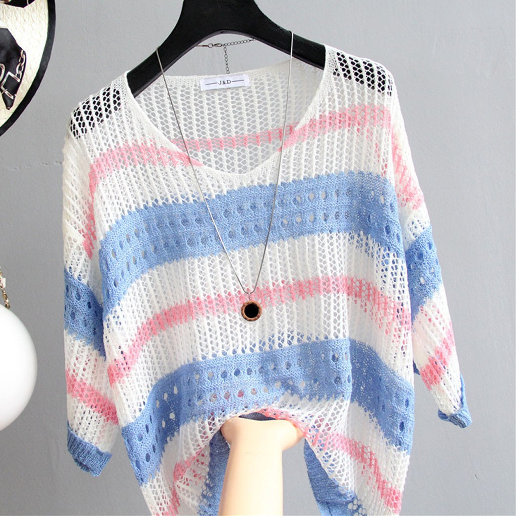 2019 Summer Women Knitting Striped Bikini Cover Up Pullover Crochet Blouse Hollow Out Beach Tunics Kaftan Beach Dress Pareos