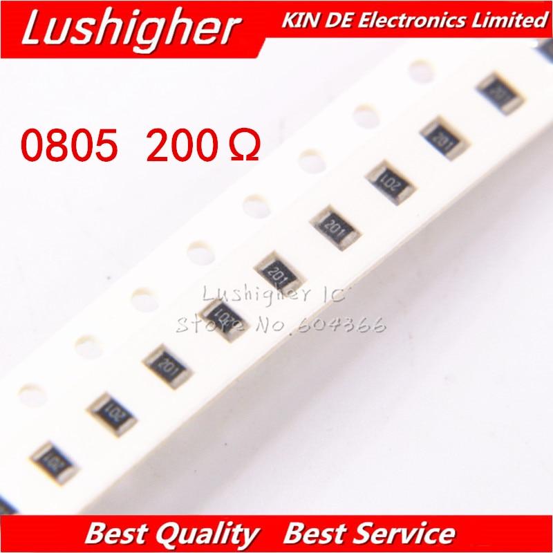 100PCS 0805 SMD Resistor 5% 200R Ohm 201 200ohm