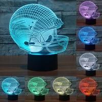 7 Color Changing Acrylic Baseball Cap New England Patriots 3D Night Lamp Touch Sensor Night Lamp